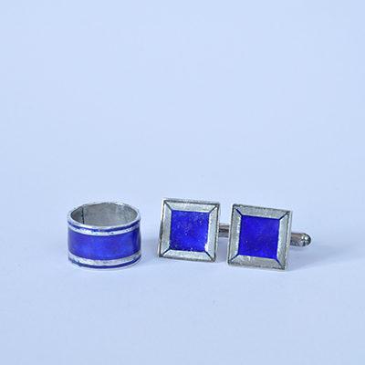 Cobalt blue ring and cufflink set enamel