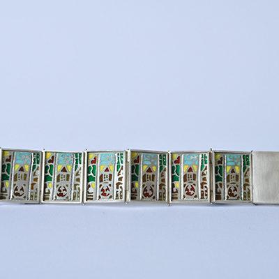 Enamel linked silver gate bracelet
