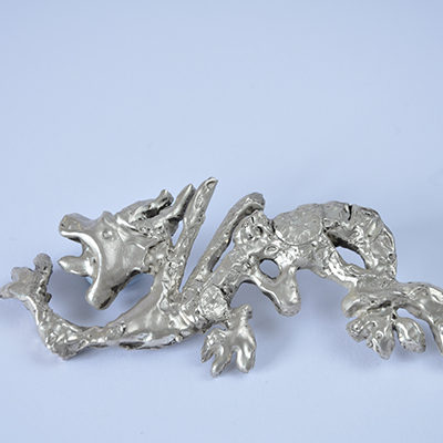 Silver Japanese dragon belt buckle