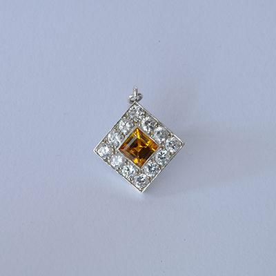Stone Set Citrine and Diamond Pendant