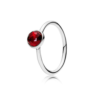Birthstone ring in plain band silver