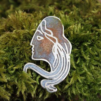 Art nou lady enamel pendant