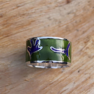 Green and Blue enamel ring
