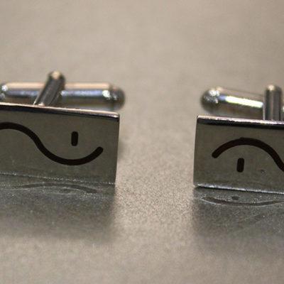 Money in shorthand enamel cufflinks