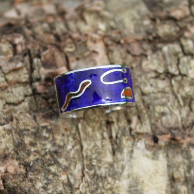 Red and blue enamel ring