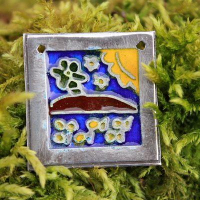Seaside scene enamel pendant