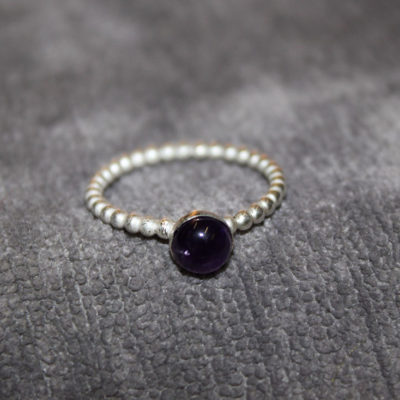 Twisted silver with cabochon amethyst