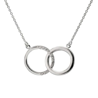 Sterling Silver Double Circle Necklace with Diamonds