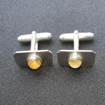 Sterling silver bar cufflinks with set with cabochon citrine stones 1