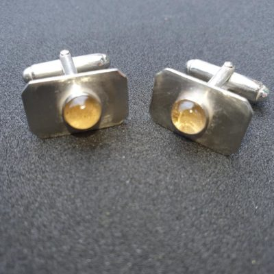 Sterling silver bar cufflinks with set with cabochon citrine stones 2