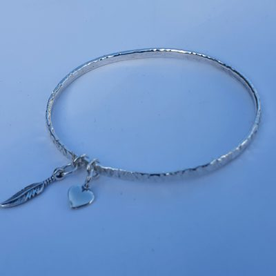 Silver Planished Bangle 3.5mm